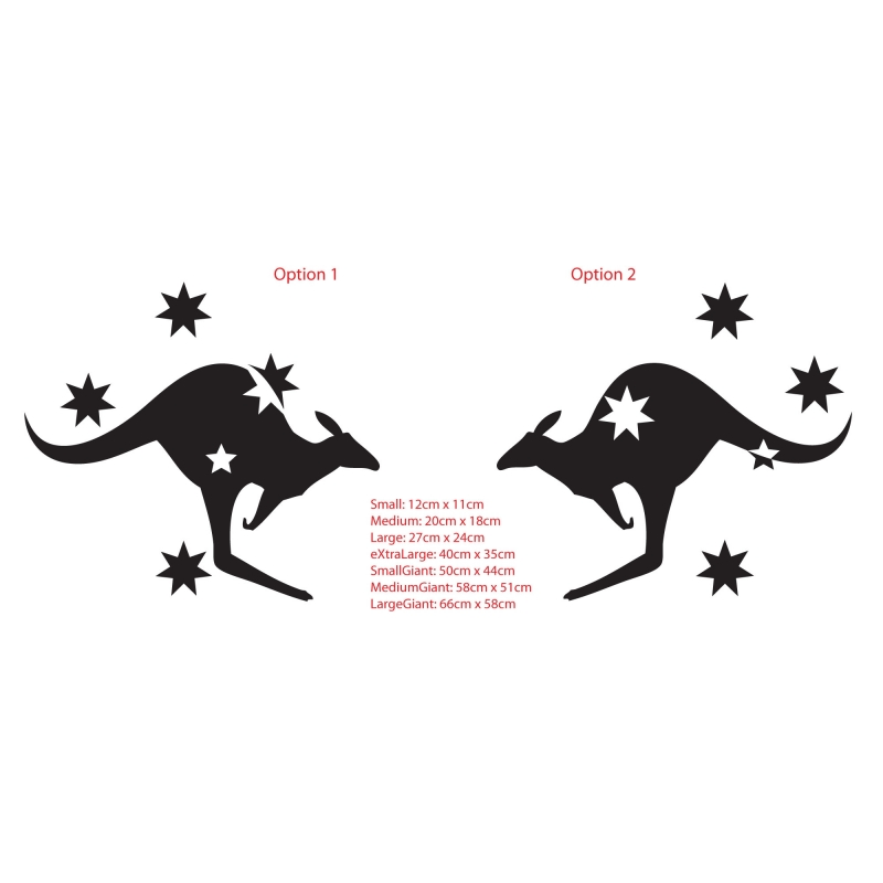 KANGAROO WITH SOUTHERN CROSS AUSTRALIAN SYMBOL CAR BOAT TATTOO - Decals for boats australia