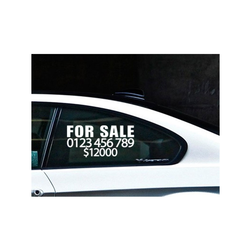 X CUSTOM TEXT FOR SALE PHONE NUMBER PRICE CAR WINDOW VINYL DECAL - Custom vinyl decals for car windows