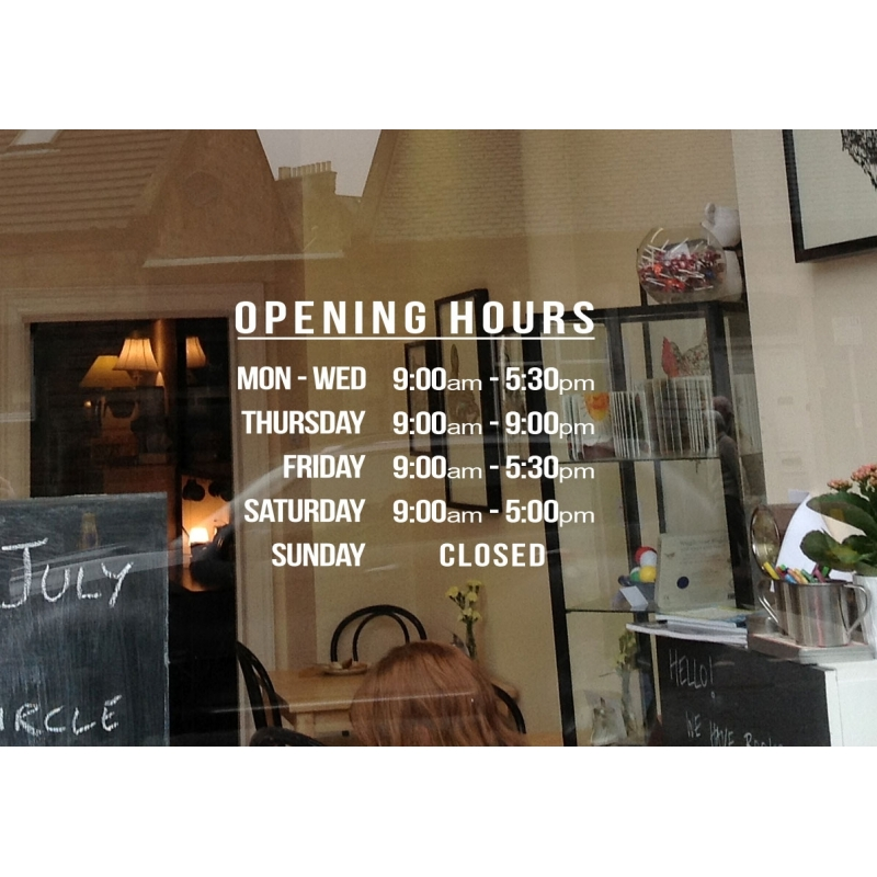 Shop Opening  Trading  Business Hours Window Wall Sticker Decal - Window decals for business hours