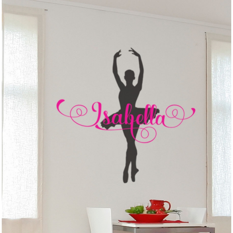 Ballerina Ballet Custom Name Wall Sticker Personalized Decal Gift