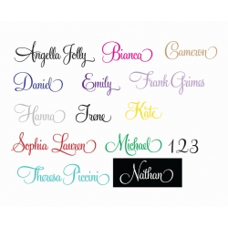 Swash Script Embellished Personalised Name Wall Custom Decal Kids Nursery Sticker