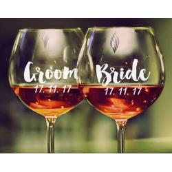 1 x Custom Name Date Wedding Wine Glass Mug Cup Decal Sticker Bridal Party Gift