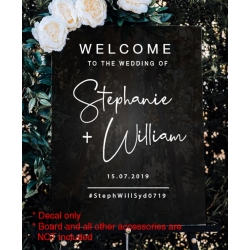 Welcome Wedding Sign Hashtag Sticker Decal Engagement Bridal Shower Birthday
