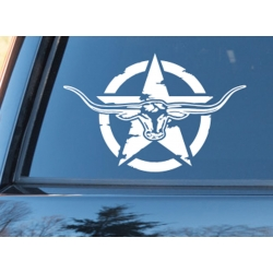 Longhorn Army Military Star Car Caravan Hood Bonnet Bike Helmet Wall Door Decals Sticker