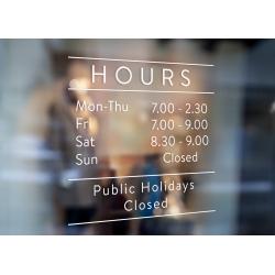 Custom Opening Hours Window Decal Weekdays Weekend Facebook Instagram_simple