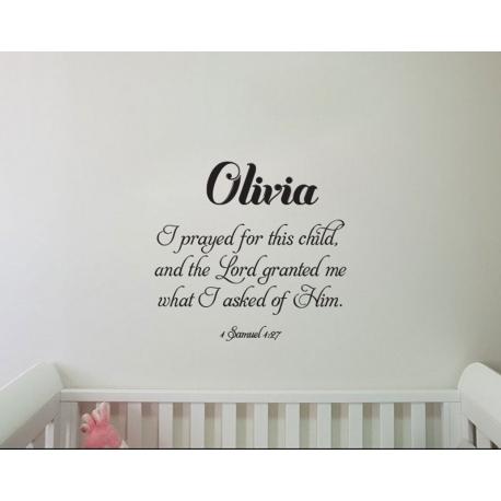 Custom Name I prayed for this child Bible Decal Sticker Nursery Wall Door Decor