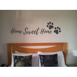 HOME SWEET HOME DOG PAW PRINTS QUOTE WALL VINYL STICKER