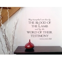 They triumphed over him by the blood of Lamb Bible Christian Wall Decal Sticker