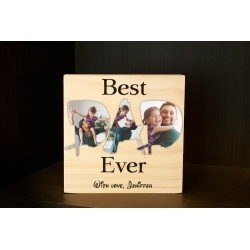 Best Dad Ever Wooden Photo Block Personalised msg Father's Day Birthday Gift