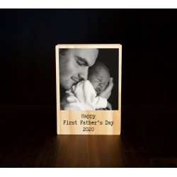 First Father's day Wooden Photo Block, Print with message, Polaroid style, Personalised Gift for Dad, Daddy