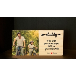 Daddy Custom Wooden Photo Block with Personalised text, Perfect Gift for Father's day or Birthday