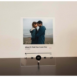 Custom Music Plaque Spotify Song Photo Couple, Anniversary Wedding Friend Gift Clear Frost Black Acrylic Wood