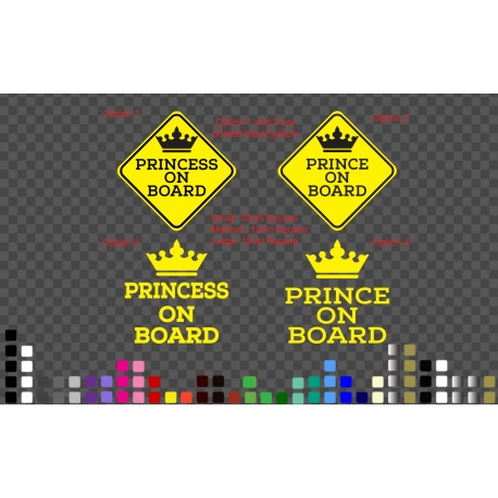 Square Princess Prince on Board Baby Kids Safety Sign Car Decal Vinyl Sticker