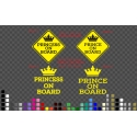 Princess Prince on Board Baby Kids Safety Sign Car Decal Vinyl Sticker