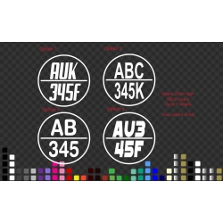 2 x Boat Rego Decal Sticker 59cm round 20cm Letters Circle Registration Number