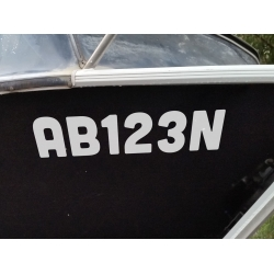 2x Boat Rego Stickers Registration Decal Marine Vehicle Cast 150mm High