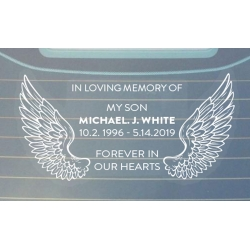Fly High...Custom Memorial Car Sticker RIP Decal Wings