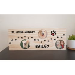 Pet Loss Memorial Wooden Block Personalised Photo RIP Plaque Dog Cat Bird Horse
