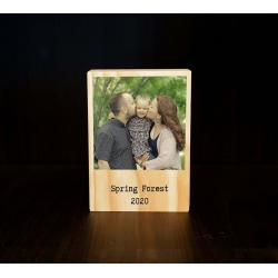 Wooden Polaroid Photo Block personal Message Personalised Gift for Couple Mum Dad