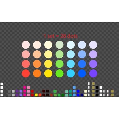 28 Rainbow Polka Wall Decal Nursery Stickers Pastel Decor Fabric or Matt