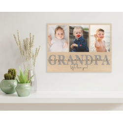 Fathers Day Photo Gift | POPY Wooden Photo Plaque Personalised Photo collage Grandpa Pops Papa Dad Daddy