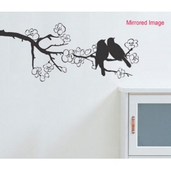 Couple Birds on sakura tree WALL VINYL DECAL STICKER