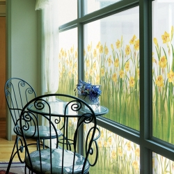 92M/M DAFFODIL FLOWER FROSTED WINDOW FILM 24HOURS PRIVACY