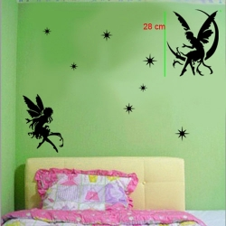 2 FAIRIES WALL VINYL DECAL STICKER NURSERY