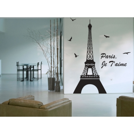 EIFFEL TOWER I LOVE PARIS WALL DECAL VINYL STICKER