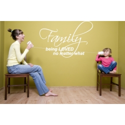 FAMILY BEING LOVED NO MATTER WHAT WALL LIVING ROOM DECAL STICKER VINYL QUOTE