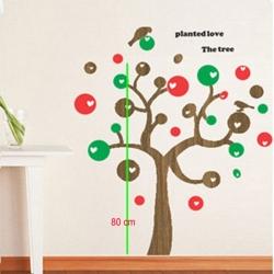 LOVE TREE BIRD WOOD GRAIN WALL VINYL DECAL