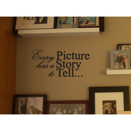 EVERY PICTURE HAS A STORY TO TELL QUOTE WALL VINYL DECAL STICKER