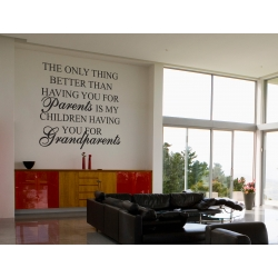 The only thing better than having you for parents GRANDPARENTS WALL DECAL VINYL STICKER