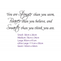YOU ARE STRONGER THAN YOU SEEM BRAVER SMARTER QUOTE WALL DECAL VINYL STICKER