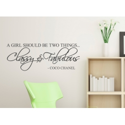 A GIRL SHOULD BE TWO THINGS CLASSY & FABULOUS REMOVABLE WALL VINYL DECAL STICKER