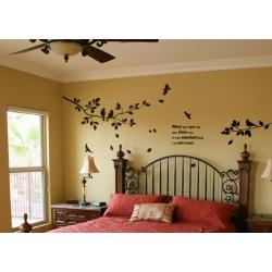 HAPPY BIRD TREE REMOVABLE WALL TATTOO DECAL VINYL STICKER