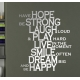 HOPE STRONG LAUGH PLAY LIVE SMILE DREAM HAPPY QUOTE WALL VINYL DECAL