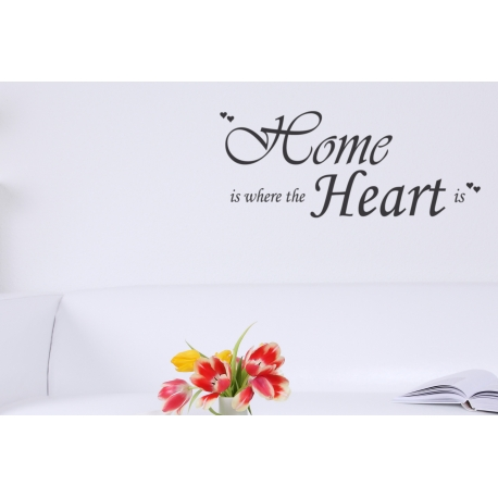 HOME IS WHERE THE HEART IS QUOTE WALL DECAL VINYL STICKER TATTOO