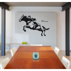 JUMPING HORSE RACING RIDER REMOVABLE WALL WINDOW DECORATIVE DECAL VINYL TATTOO