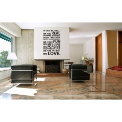IN THIS HOUSE WE ARE REAL WE LOVE QUOTE WALL VINYL DECAL STICKER