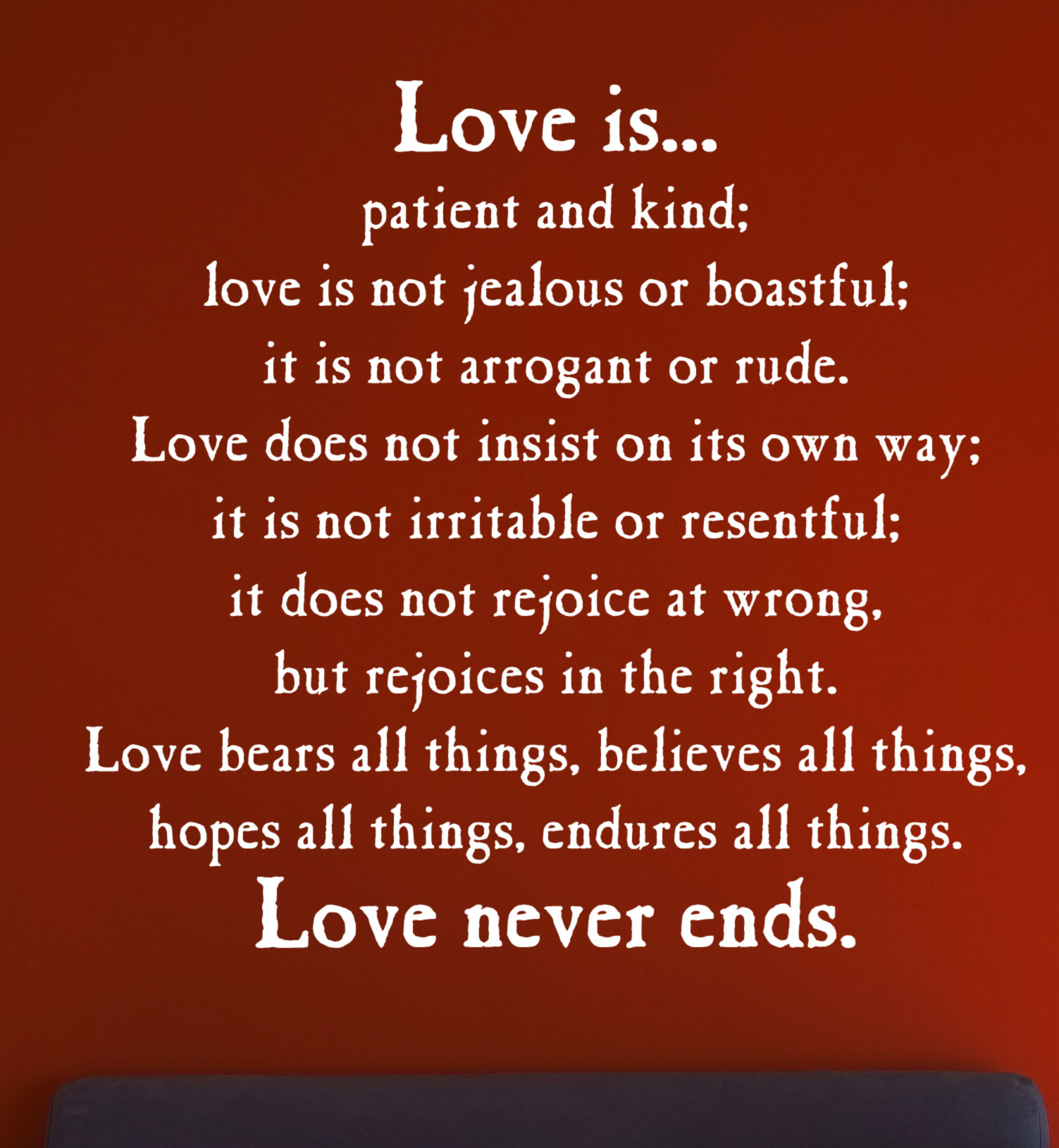 love is patient kind protect trust hope wall art vinyl decal