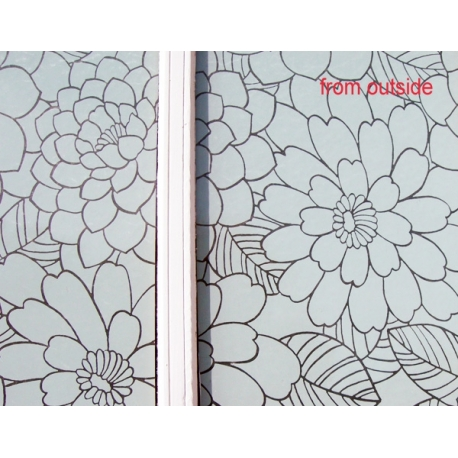 WHITE FLOWER BLOOM PATTERN FROSTED PRIVACY WINDOW FILM 1M/M