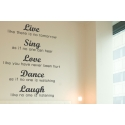 LIVE LIKE THERE IS NO TOMORROW SING LOVE DANCE LAUGH QUOTE WALL WINDOW DECAL VINYL LETTERING STICKER