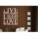 LIVE EVERY MOMENT LAUGH EVERY DAY LOVE QUOTE WALL DECAL VINYL STICKER