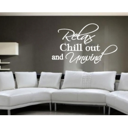 RELAX CHILL OUT AND UNWIND ART WALL VINYL DECAL STICKER REMOVABLE