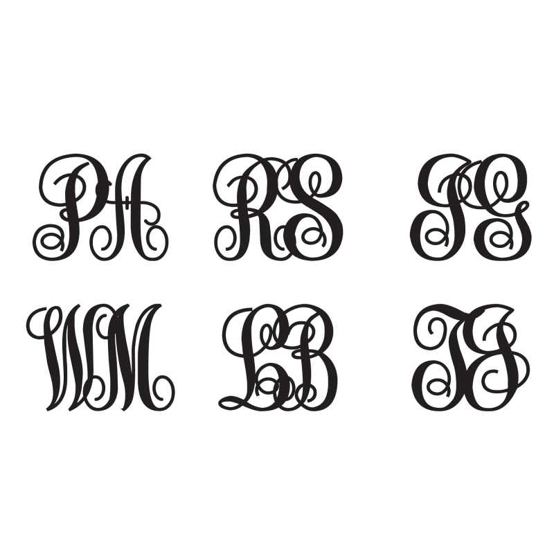 2 Letters Vine Custom Curly Monogram Personalized Symbol Wedding