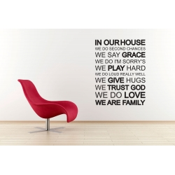 IN OUR HOUSE WE DO WE ARE FAMILY TRUST GOD FEATURE WALL VINYL DECAL