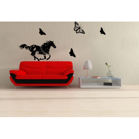 GALLOPING HORSE IN THE FOREST BUTTERFLIES REMOVABLE FEATURE WALL DECAL VINYL STICKER