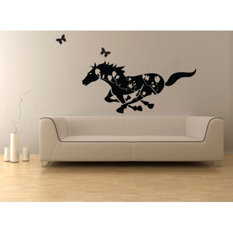 REARING HORSE IN THE FOREST REMOVABLE FEATURE WALL DECAL VINYL STICKER