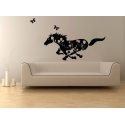GALLOPING HORSE IN BLOOMS REMOVABLE FEATURE WALL DECAL VINYL STICKER